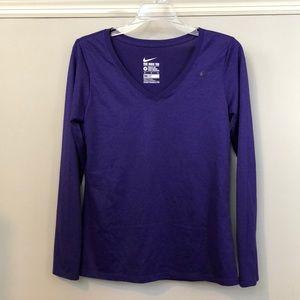 Nike Athletic Cut Purple Long Sleeve Shirt